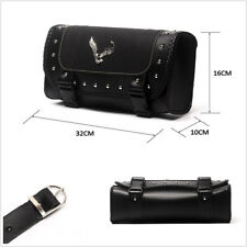 One Black PU Leather Motorcycles ATV Saddlebags Side Storage Tool Bag Waterproof