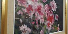 schönes Gemälde Ölgemälde Blumen Rosen Stillleben Gerahmt