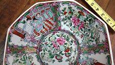 "Antique Chinese Export Famille Rose Medallion Mandarin 10""Bowl 8 sides Octagonal"