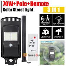 New listing 90000Lm 70W Led Solar Outdoor Street Light Motion Sensor Area Road Spotlamp+Pole