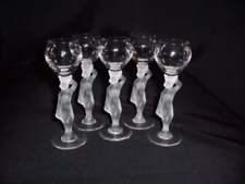 Art Deco Crystal Nude Stem Cordial Glasses - Five Glasses