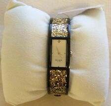 KATE SPADE NEW YORK WOMEN'S 1YRU0239 BLACK ION-PLATED GLITTER CAROUSEL WATCH NWT