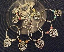Filigree  love  heart  wine glass charms