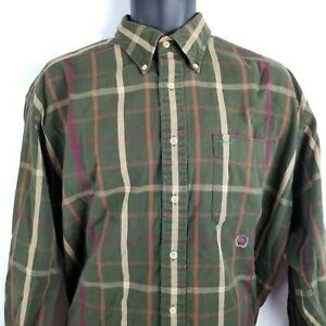 Tommy Hilfiger Medium Plaid Green Purple Long Sleeve Button Down Front Shirt