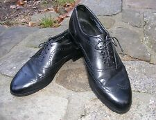 BOSTONIAN OXFORD,  Black Leather Wing Tip 5-hole Lace Up Dress Shoes, Size 8.5 M