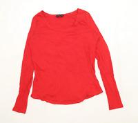 Dorothy Perkins Womens Size 14 Cotton Blend Red Long Sleeve T-Shirt (Regular)