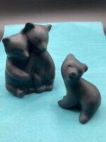 Vintage Pigeon Forge Pottery Matte Black Bear Family Figurines Signed