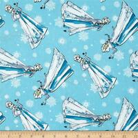 Disney Frozen Sisters Elsa Sketch blue 100% cotton fabric by the yard