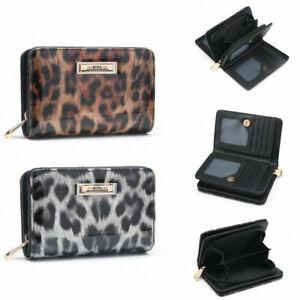 Ladies  RFID Coin Patent Leopard Purse Girls Animal Print Wallet Clutch Bag