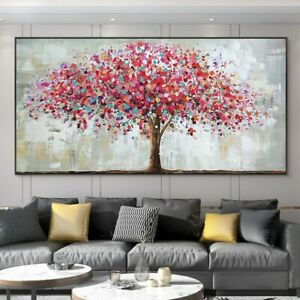 YA261 Modern Canvas Large Abstract oil painting Hand-painted Pink tree