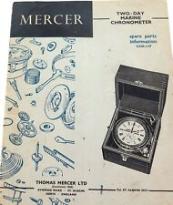 RARE 1957 MERCER 2 DAY MARINE CHRONOMETER PARTS & INFORMATION CATALOGUE.