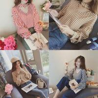 Korean Women Striped Halter Puff Sleeve Chiffon Casual Loose T Shirt Blouse Tops