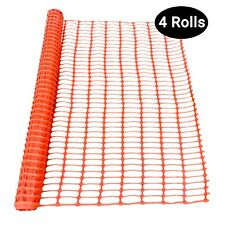 Sandbaggy - 4 Rolls - 4 ft x 100 ft - Orange Safety Barrier Fence, Snow Fencing