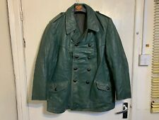 VINTAGE 60s HACKEL & CO. GERMAN LEATHER POLICE OFFICERS PEA COAT JACKET SIZE L
