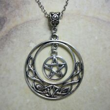 Celtic Moon and Pentacle Necklace - Pentagram Pendant Gothic Wicca Pagan Witch