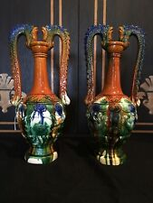 Beautiful Pair Of Majolica Urns With Horse Head Handles Art Deco