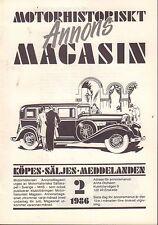 Motorhistoriskt Magasin Annon Swedish Car Magazine 2 1986 Merc 032717nonDBE