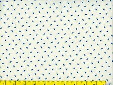 Small Blue Flower Buds on White Flowers Quilting Fabric by Yard #771