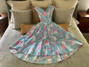 VTG Alfred Angelo Dress Floral Cross Back EUC 100% Cotton Bridesmaid Made USA