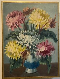 CHRYSANTHEMUM, OIL PAINTING ON CANVAS, SIGNED & FRAMED, HOLLAND, VINTAGE
