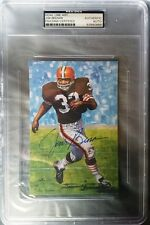 RARE JIM BROWN SIGNED GOAL LINE ART CARD~FOOTBALL HOF AUTO~SERIES ONE~PSA/DNA