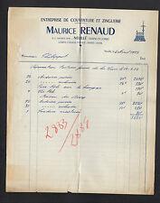 """NEUILLE (49) COUVERTURE ZINGUERIE """"Maurice RENAUD"""" en 1952"""
