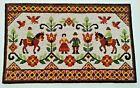 Vtg Swedish Folk Art Tapestry Wall Hanging Marriage Couple + 2 Horsemen Sweden