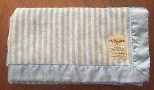 "My Blankee Blue-White Stripe Baby Blanket Satiny Edge Trim 34"" x 31"""