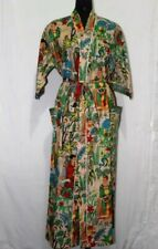 FRIDA KAHLO Kimono Women's Indian Printed Cotton Nightwear Robe Gown Maxi Dress