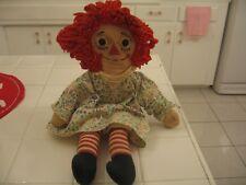 "Adorable Vintage Well Loved 16"" Knickerbocker Cloth Rag Raggedy Ann Doll Toy"