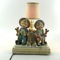 Vintage Chalkware Child Table Lamp Figural Boy Girl Garden Hummel Look Works
