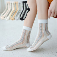 Women Socks Sheer Glass Silk Sock Ultra Thin Transparent Crystal Lace Ankle