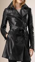 Femme Noir Cuir Véritable Trench-Coat