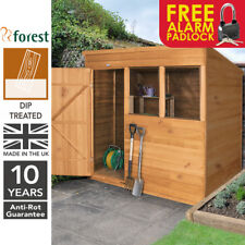 Forest 7x5 DipTreated Timber Pent Roof Shed Garden Tool Storage Free Padlock