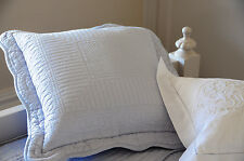 Square misty blue stitch embroidered cushion cover with ties