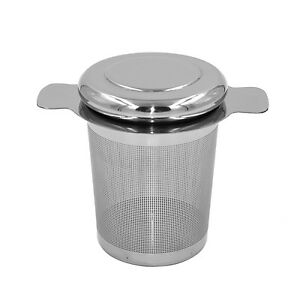 304 Stainless Steel Tea Infuser +Lid as Drip Tray Brew-in-Mug Tea Strainer #E18