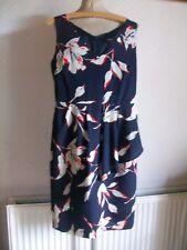 Navy/White Mix Lined Sleeveless V-Neck Dress with Overskirt, Size 12, NEXT
