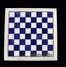12 Inches Marble Coffee Table Top Inlay Chess Table with Blue Stone Royal Look