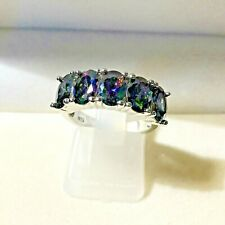 **2DAY Shipping  **  Oval 10ct. Alexandrite Band  Ring , Platinum  sz 7