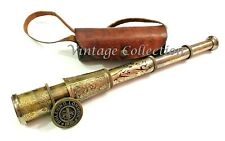 Vintage Nautical Antique Maritime Brass Engraved Telescope with Leather Cover