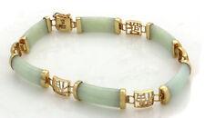 Chinese 14K Yellow Gold Jade Bracelet