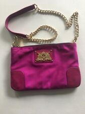 Juicy Couture Nylon Malibu Crossbody Bag Fuchsia Magenta Gold Chain Evening