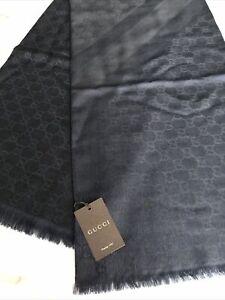 NWT GUCCI  BLACK NAVY GG STRIPE Wool Silk Large Scarf Shawl 140x140!