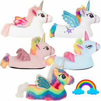 Womens Girls Novelty 3D Flying Unicorn Slippers Ladies Rainbow Indoor Footwear