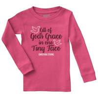 Gods Grace Tiny Face Christian Strong Cross Infant Girls Solid Rib Pajama Top