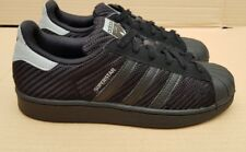 ADIDAS SUPERSTAR BLACK WEAVE SIZE 3 UK GREY LOGO VERY GOOD CONDITION