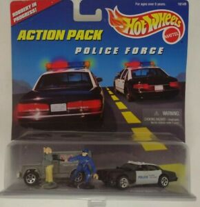 1996 Mattel Hot Wheels Action Pack Police Force Robbery in Progress
