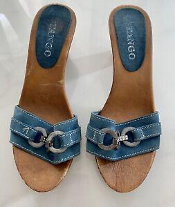 Damen Sandalen Sandaletten Absatz Holz Leder Blau Gr.39