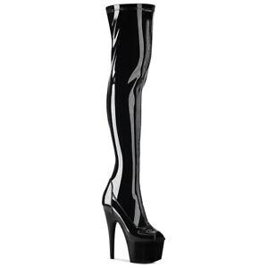 Pleaser ADORE-3011 Women's Black Patent Heel Platform Peep Toe Thigh High Boots