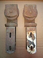 "2 VINTAGE ANTIQUE BARN SHED 3 1/4"" x 10"" DOOR TROLLEY HANGING TRACK ROLLERS"